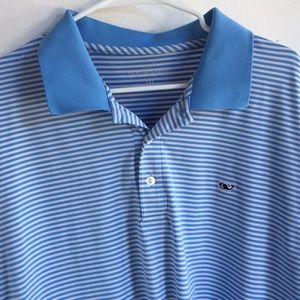 Vineyard Vines Mens XXL blue striped polo shirt